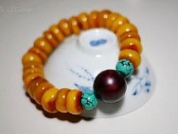 DIY小叶紫檀、绿松石配珠蜜蜡手串