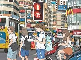 麦当劳合作插画-带过程