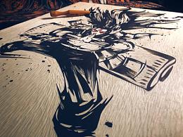 手工雕刻火影千手柱间黑白木刻版画艺术品