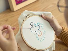 王的手创 儿童diy材料包手工课刺绣教学 新手卡通动物针线