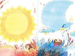 水彩手绘儿童插画