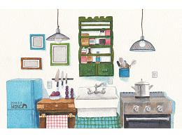 水彩插画厨房过程图