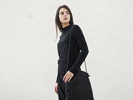 【花树果原创设计女装】2017春装日系修身撞色打底衫