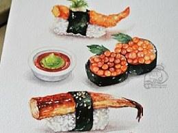 金鱼手绘美食——寿司一箩筐