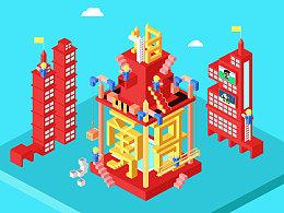 2017 扁平化立体构造纪念碑谷风格
