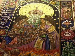 习作 克苏鲁与君士坦丁 中世纪泥金手抄本风格装饰画