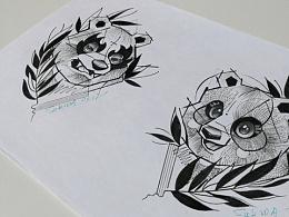 情侣黑灰 动物纹身