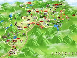 南岭镇.手绘地图景区旅游地图定制设计