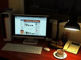假期夜晚书桌