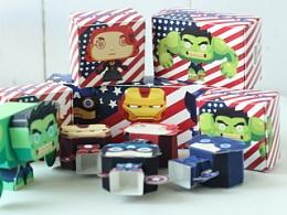 复仇者联盟 Q版美国英雄 纸膜 包装设计 矢量插图 纯手工制作