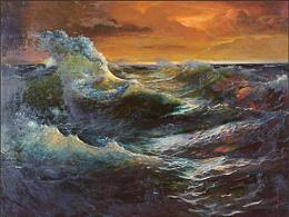 油画作品《海浪》