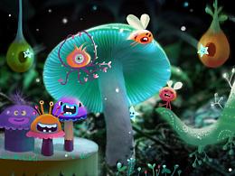 照片创意~蘑菇小插画