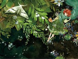 水彩画集《梦游纪》封面图和绘画过程