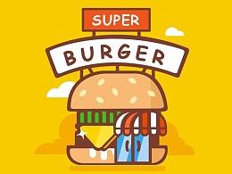 扁平化(超级汉堡小插画)