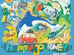 携程X咖喱牛 【Happy Journey】插画