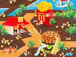 麦当劳 X nanoblock 系列创意海报