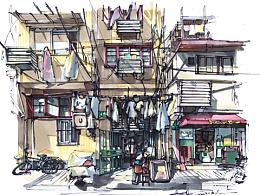 上海老洋房民居手绘