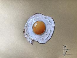 MZ彩铅超写实手绘一煎蛋