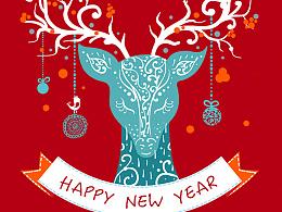 圣诞气氛音乐狂欢派对H5页面 手机移动端网页设计海报 红色蓝色欢快可爱麋鹿动物环球世界新年