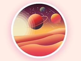 星球风景插画