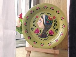 《姑娘》--手绘盘子