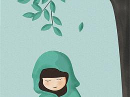 原创插画——雨中独坐