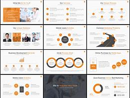 橙色团队介绍商务贸易数据图表企业通用精美动画PPT模板