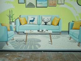 样板房墙绘 样板间彩绘 清水样板间彩绘