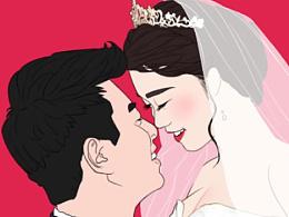抽空画家庭 婚礼 情侣
