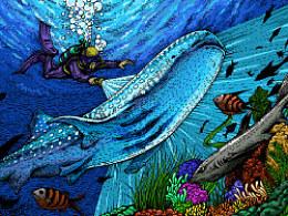 深海系列——遇见鲸鲨(手绘过程)
