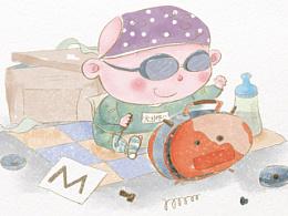 儿童插画·水彩·机灵鬼