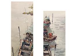 一组与船有关的水彩作品