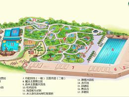 魔法温泉.手绘地图度假区景区旅游地图设计定制