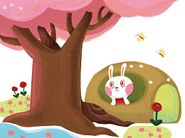 桃树下的小白兔