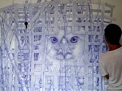 用圆珠笔 画一面墙【笼子里的雏鹰--文抑】