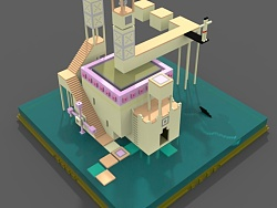 magicavoxel 3D仿纪念碑谷建模 by 年轻young设计