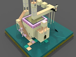magicavoxel 3D仿纪念碑谷建模