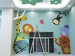 幼儿园墙绘 幼儿园墙体彩绘 东莞石新早教中心