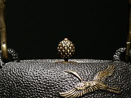 【沐焱堂】  仙鹤铁壶 铸铁 鎏金无涂层纯铁煮茶壶 养生茶壶出口日本