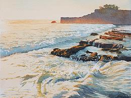 过程图-水彩作品《温暖的海潮》