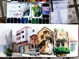 城市速写-番禺市桥-西缇路-画画写生