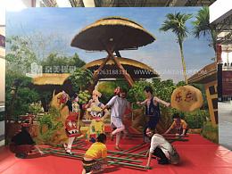 海南乐东竹竿舞文化传统3D立体画3D画展