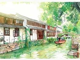 手绘城市系列——《苏州周庄》