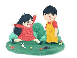 可爱场景插画/儿童节快乐