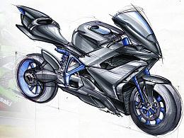 手绘三张-摩托、机甲、概念车