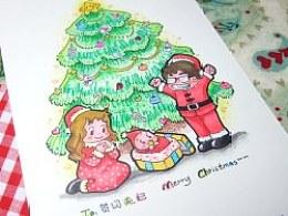 寄给朋友的手绘明信片