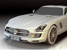 奔驰SLS 3d  白模