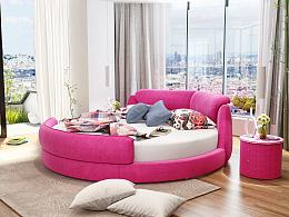 时尚圆形布艺床 ,家具3D设计 ,家具设计
