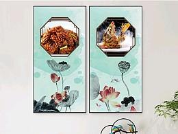 一组美食装饰画的设计