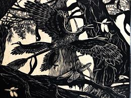 手工雕刻黑白木刻版画《飞行的奥秘》